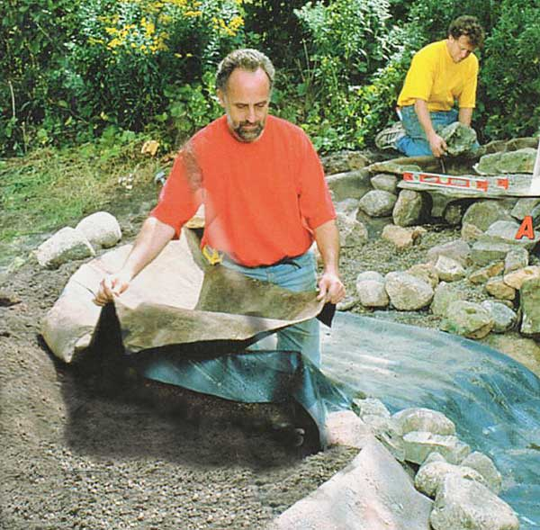 Rock on a roll hiding pond liner with less stone for Koi pool liners